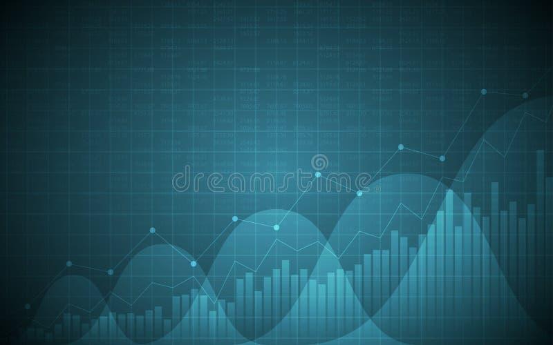 Finanzdiagramm mit Aufwärtstrendlinie Diagramm, Balkendiagramm und Typenbezeichnungen auf blauem Hintergrund der Steigung Farb stock abbildung