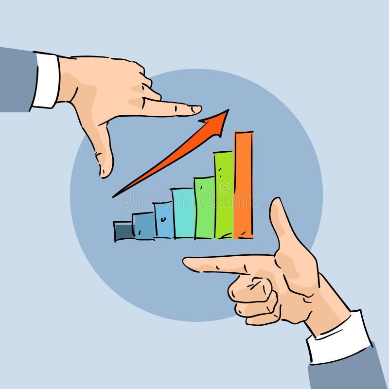 Finanzdiagramm-Stangen-Pfeil herauf Geschäfts-Handskizzen-Diagramm lizenzfreie abbildung