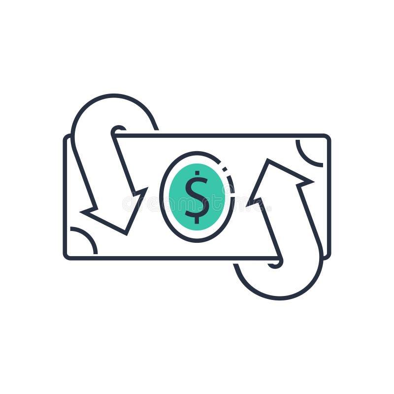 Finanzdienstleistungen, hinteres Konzept des Bargeldes, Geldrückerstattung, Anlagenrendite, Sparkonto, Geldumtausch stock abbildung