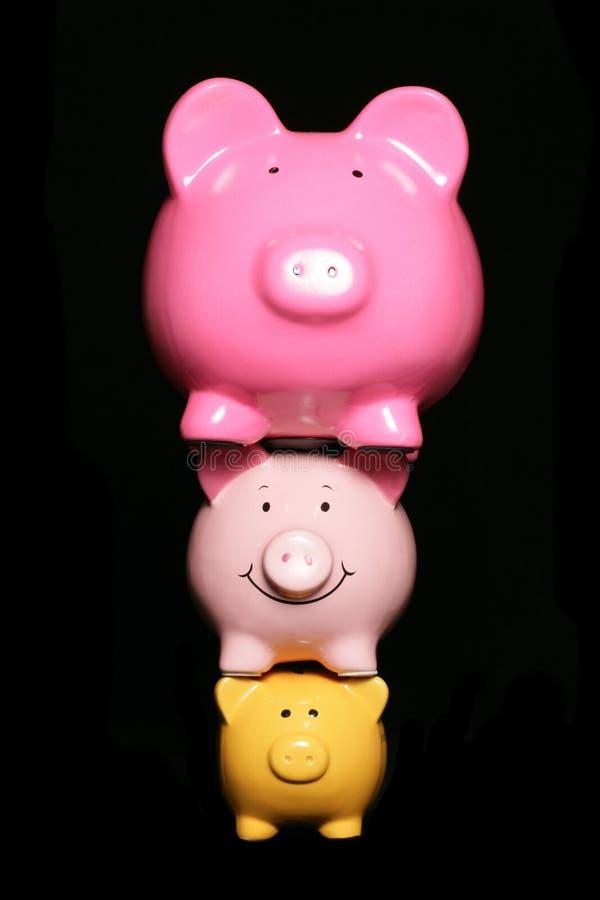 Finanzdrucksparschweine stockfoto