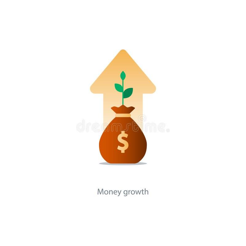Finanze e gestione di investimento, pianificazione del bilancio, interesse composto, reddito illustrazione di stock