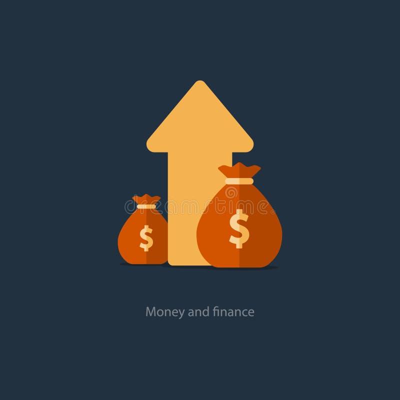 Finanzen und Vermögensverwaltung, Budgetplanung, Zinseszins, Einkommen lizenzfreie abbildung