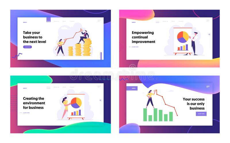 Finanzerfolg, wachsender Geld-Reichtum, Geschäftstreffen, Projekt-Darstellung, Konzept, Geschäftsleute Datenanalyse- vektor abbildung