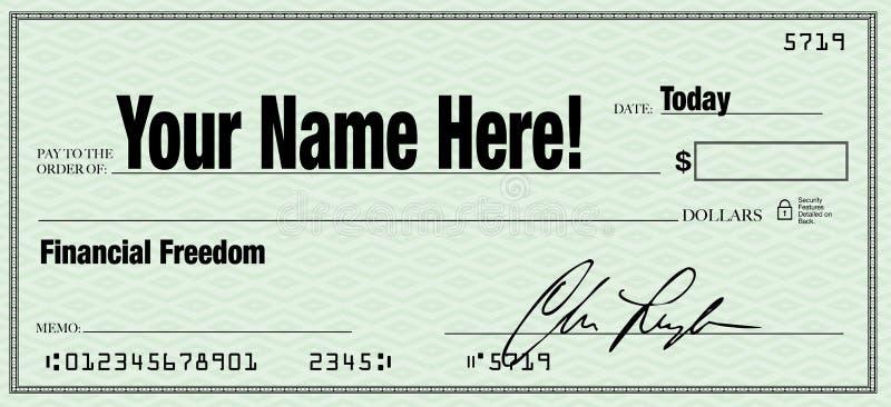Finanzfreiheit - Ihr Name auf Blankoscheck lizenzfreie abbildung