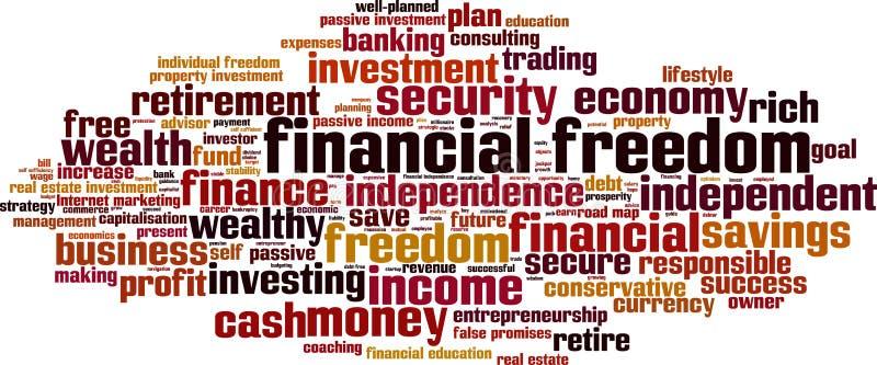 Finanzfreiheitswortwolke lizenzfreie abbildung