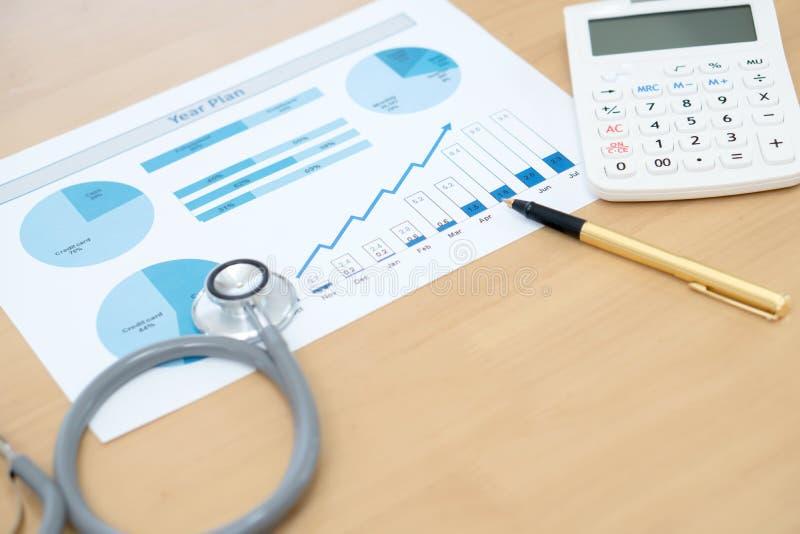 Finanzgesundheits-check oder Kosten Gesundheitswesen stockfotos