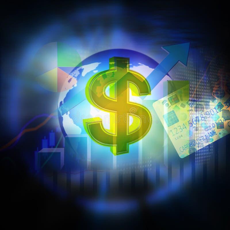Finanzi il fondo con il grafico del mercato azionario e la carta di credito royalty illustrazione gratis