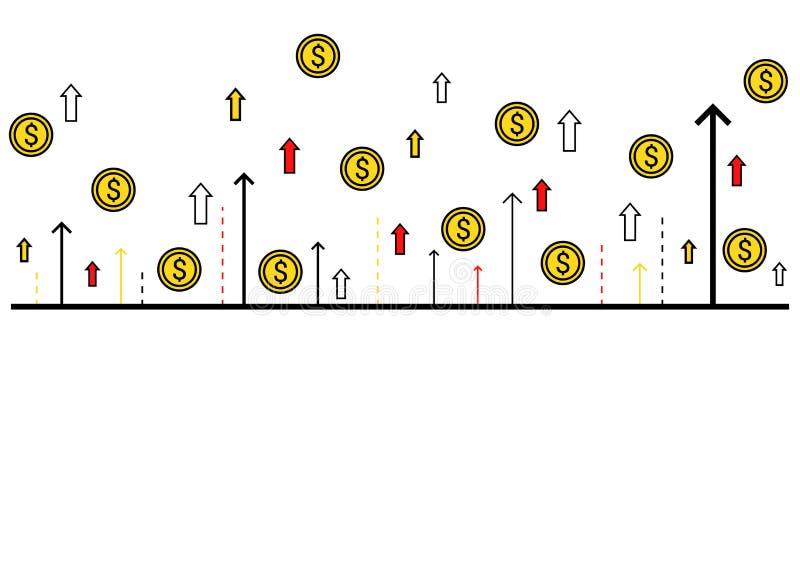Finanzi l'insegna di concetto delle monete e delle frecce in aumento illustrazione vettoriale