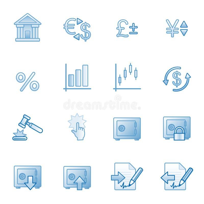 Finanzi le icone di Web, serie blu royalty illustrazione gratis