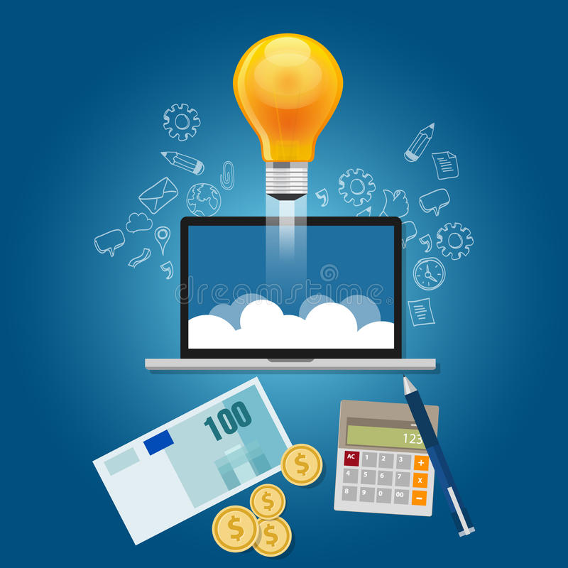 Finanzi le vostre idee convincono il finanziamento a lanciare il progetto start-up illustrazione vettoriale
