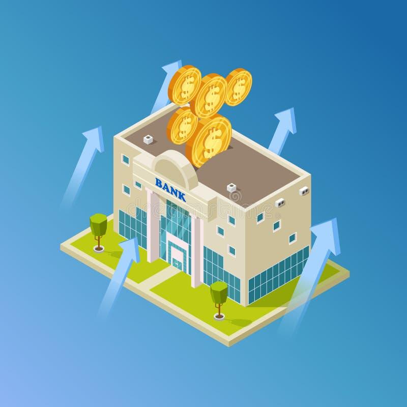 Finanziario, affare, vettore di attività bancarie Costruzione di banca isometrica illustrazione vettoriale