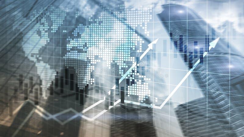 Finanziellbörse stellt Kerzen-Diagramm-ROI Return On Investment Business-Konzept grafisch dar lizenzfreie abbildung