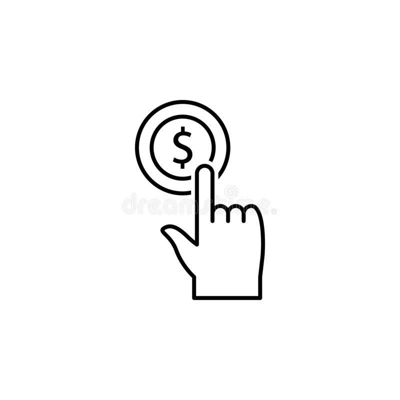 Finanzierung, Gelddiversifikation, Berührungsfläche, Hand, Hahn, Geldikone Element der Gelddiversifikationsillustration Zeichen u vektor abbildung
