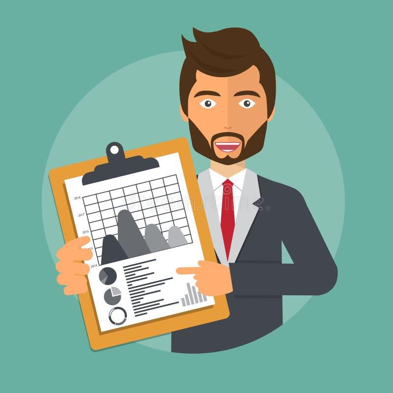 Finanzierung, Geschäft, Plan, Arbeit, Wachstum, Wirtschaft, Schreibarbeit, Berater Geschäftsmannholdingdokument mit Diagrammanaly lizenzfreie abbildung