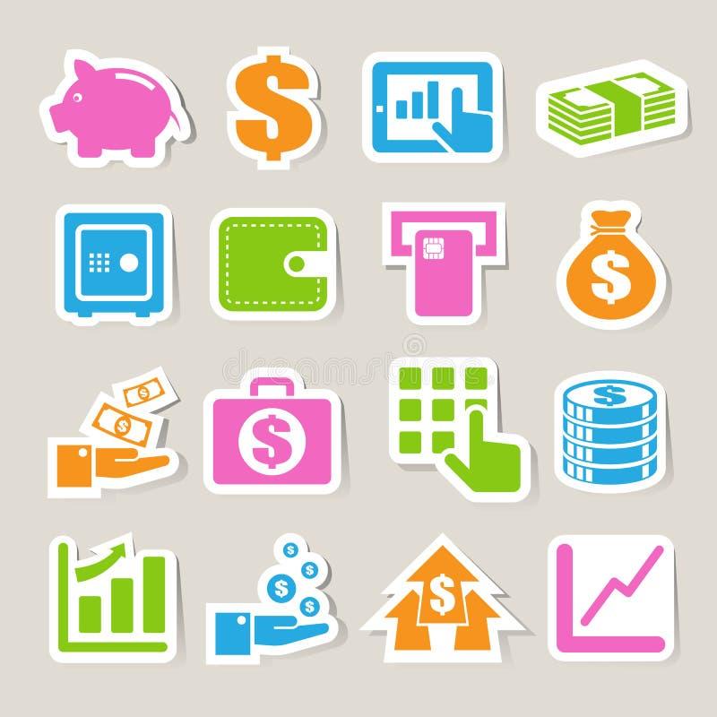 Finanzierung und Geldaufkleberikonenset. stock abbildung