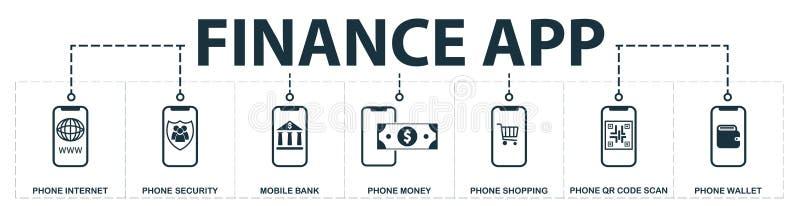 Finanzierungapp stellte Ikonensammlung ein Schließt einfache Elemente wie Telefon-Internet, Telefon in Verbindung tritt mit Siche vektor abbildung