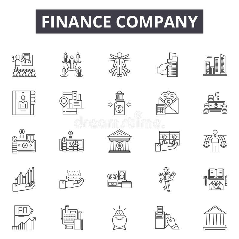 Finanzierungsgesellschaftslinie Ikonen, Zeichen, Vektorsatz, Entwurfsillustrationskonzept lizenzfreie abbildung
