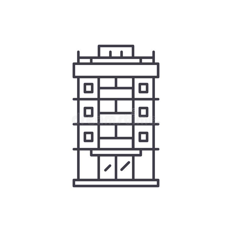 Finanzierungsgesellschaftslinie Ikonenkonzept Lineare Illustration des Finanzierungsgesellschaftsvektors, Symbol, Zeichen lizenzfreie abbildung