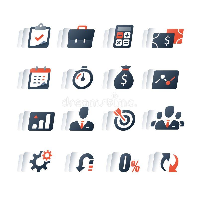 Finanzikonensatz, Betriebsmittelkredit, Firmeneinkommensbericht, Analytics infographic, Marktwachstum, jährliche Zahlung, Unterne stock abbildung