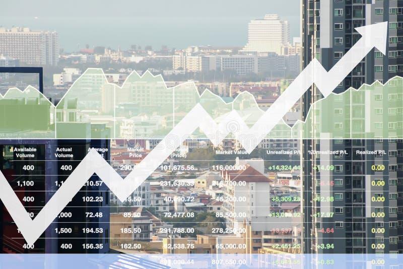 Finanzindex auf Lager der erfolgreichen Investition auf Immobiliengeschäft des Eigentums und des Baugewerbes mit Diagramm und Dia stockfotografie