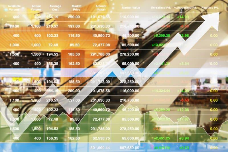 Finanzindexanalysedaten auf Lager der erfolgreichen Investition auf Kleineinkaufszentrum stockfoto