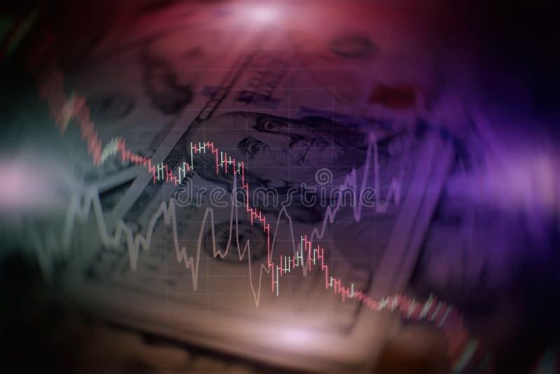Finanzkerzenst?nderdiagramm mit Linie Diagramm und Typenbezeichnungen auf blauem Hintergrund der Steigung Farb lizenzfreie abbildung