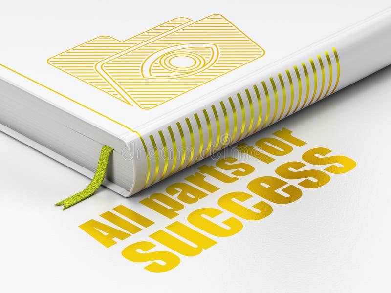Finanzkonzept: buchen Sie Ordner mit Auge, alle Teile für Erfolg auf weißem Hintergrund lizenzfreie abbildung
