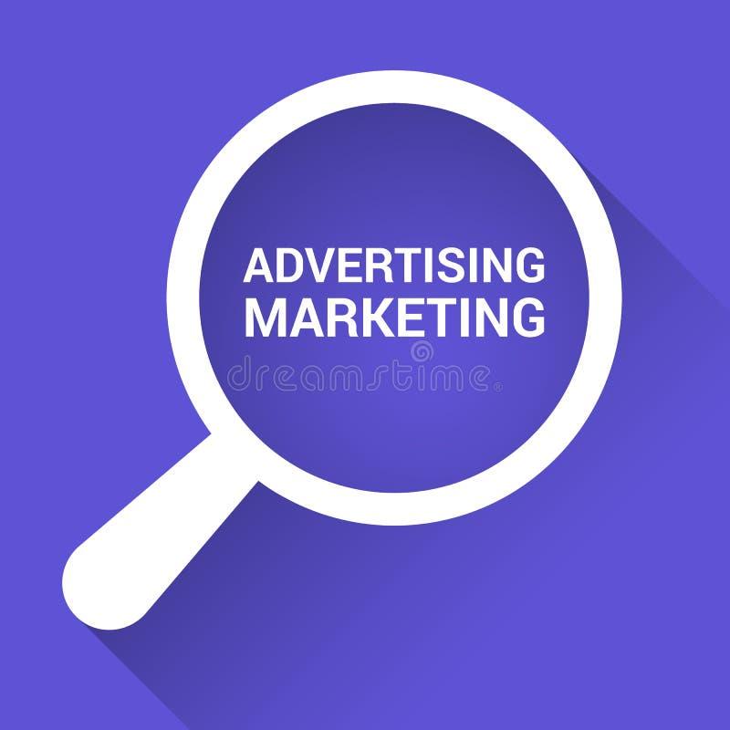 Finanzkonzept: Optisches Vergrößerungsglas mit den Wörtern, die Marketing annoncieren vektor abbildung