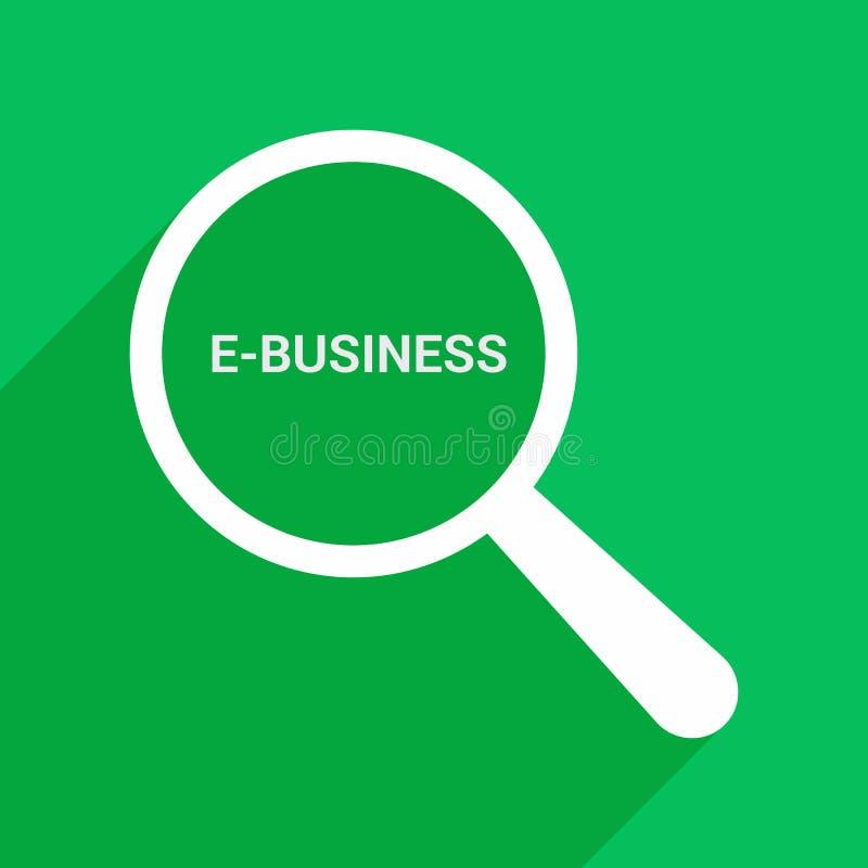Finanzkonzept: Optisches Vergrößerungsglas mit Wort-E-Business lizenzfreie abbildung
