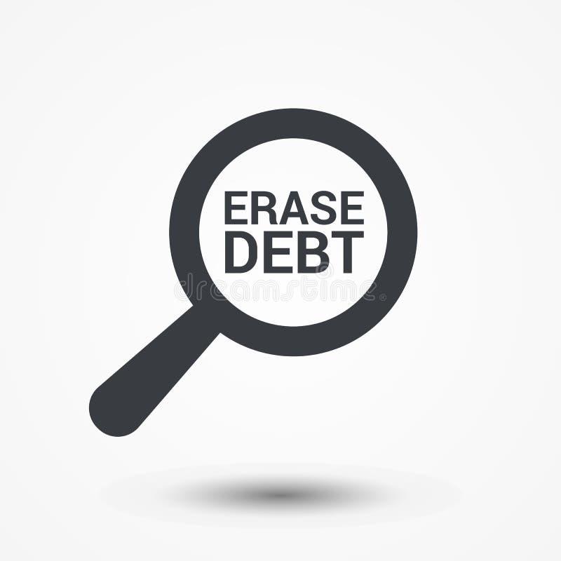 Finanzkonzept: Optisches Vergrößerungsglas mit Wort-Löschen-Schuld lizenzfreie abbildung