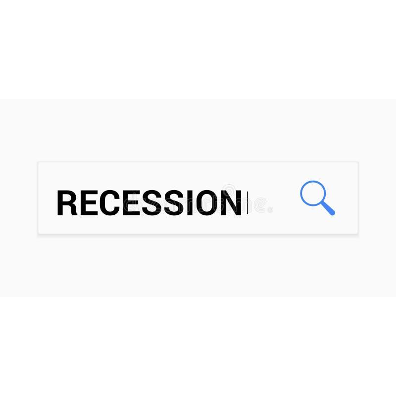 Finanzkonzept: Optisches Vergrößerungsglas mit Wort-Rezession vektor abbildung