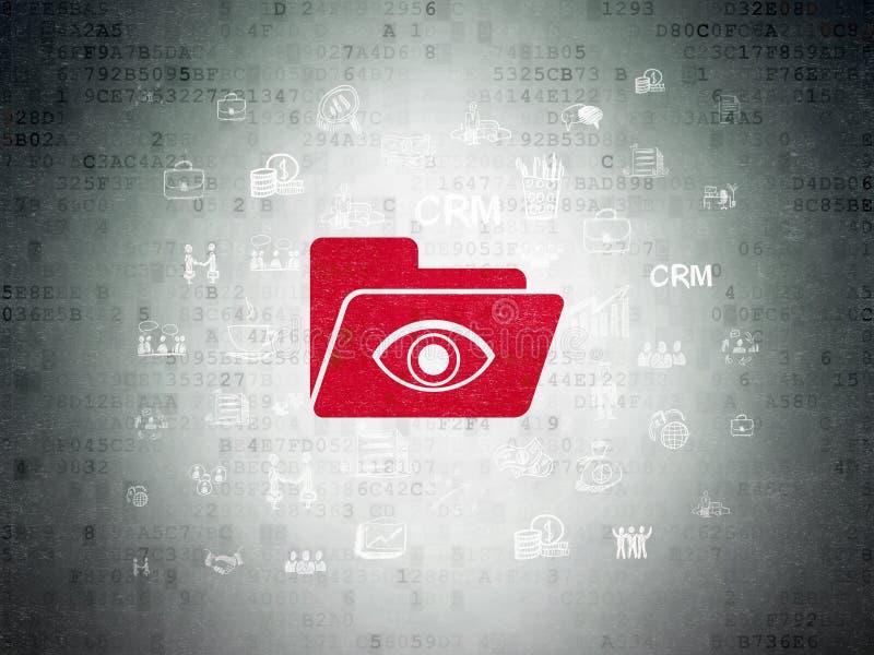 Finanzkonzept: Ordner mit Auge auf Digital-Daten tapezieren Hintergrund lizenzfreie abbildung