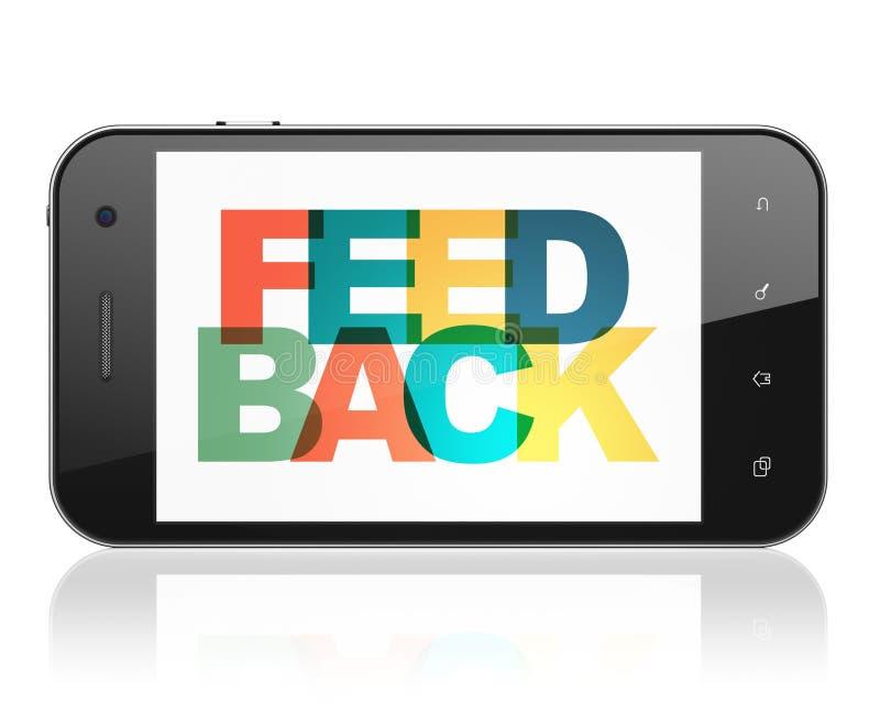 Finanzkonzept: Smartphone mit Feedback auf Anzeige vektor abbildung