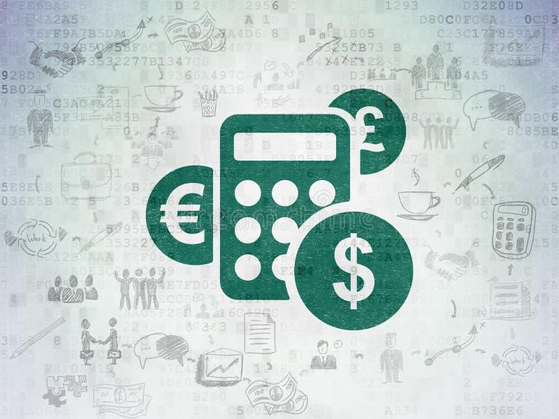Finanzkonzept: Taschenrechner auf Digital-Papier stock abbildung