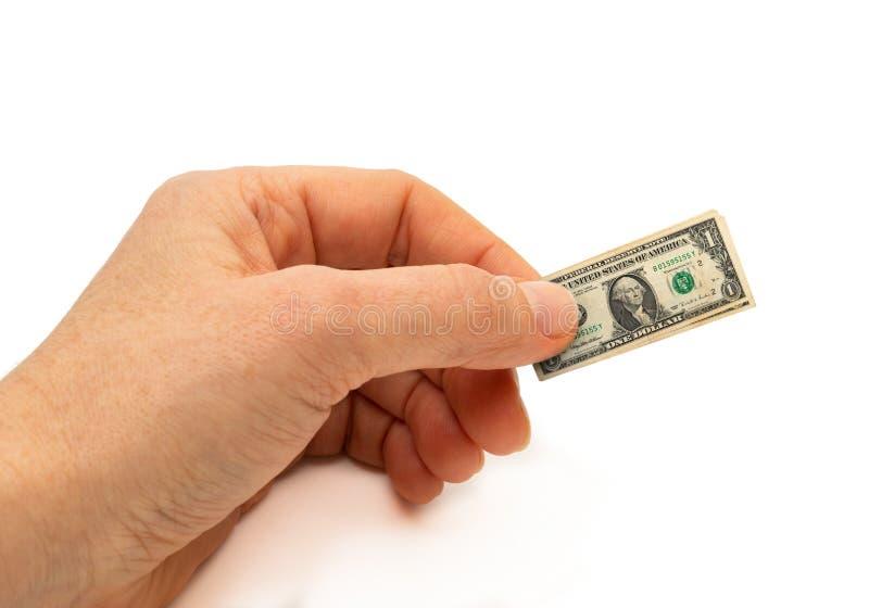 Finanzkonzepthand, die aufgeblähte Banknote hält stockbild