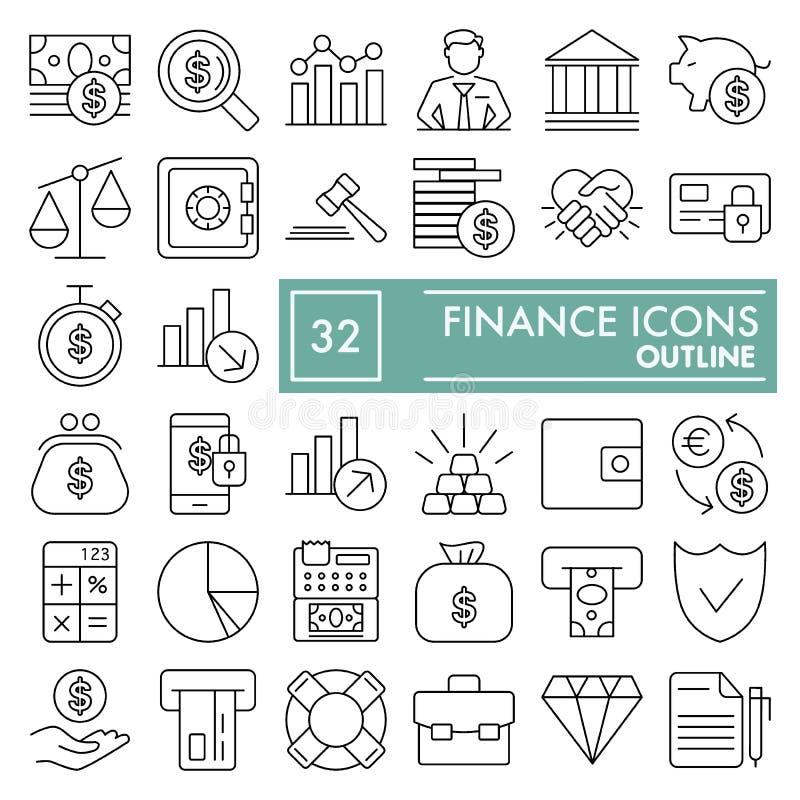 Finanzlinie Ikonensatz, Geldsymbole Sammlung, Vektorskizzen, Logoillustrationen, lineare Piktogramme der Unterwasserzeichen stock abbildung
