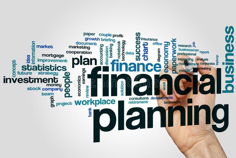 Finanzplanungs-Wortwolkenkonzept auf grauem Hintergrund lizenzfreies stockbild