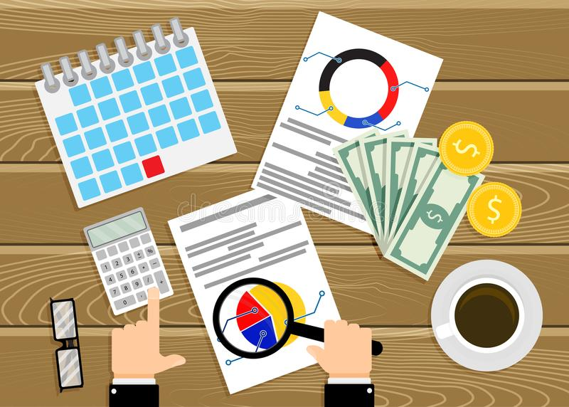 Finanzprüfung, Analyse von infographics Vektor vektor abbildung