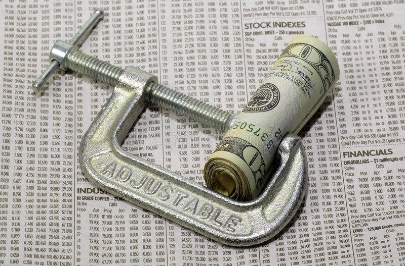 Finanzpressung lizenzfreie stockfotografie