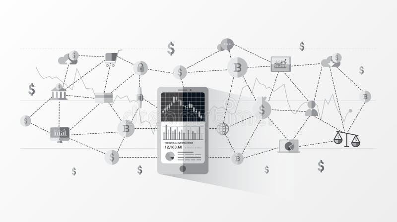 Finanztechnologie FinTech und Anlagengeschäftinformationsgraphik stock abbildung