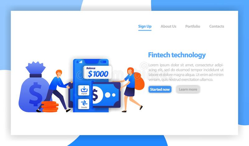 Finanztechnologie oder fintech bewegliches Rettungsgeld Ablagerung und Übertragung mit Smartphone Frauenbürgschaftsgeld mit finte lizenzfreie abbildung