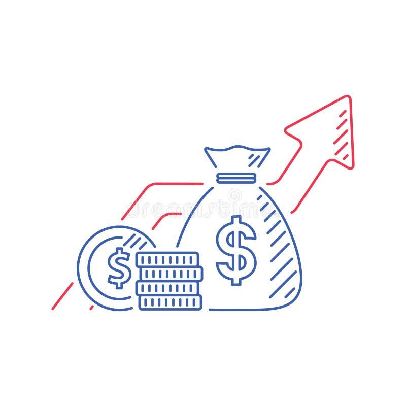 Finanzwachstum, Anlagestrategieplan, steigende Kampagne des Kapitals, Pfeile und Münze, vector Monolinie Ikone vektor abbildung