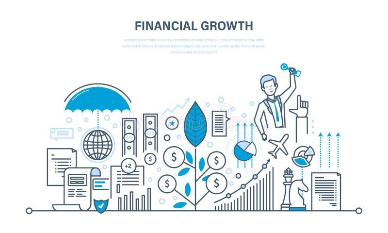Finanzwachstum, Marktforschung, Ablagerungen, Beiträge, Einsparungen, Management, Berechnung lizenzfreie abbildung