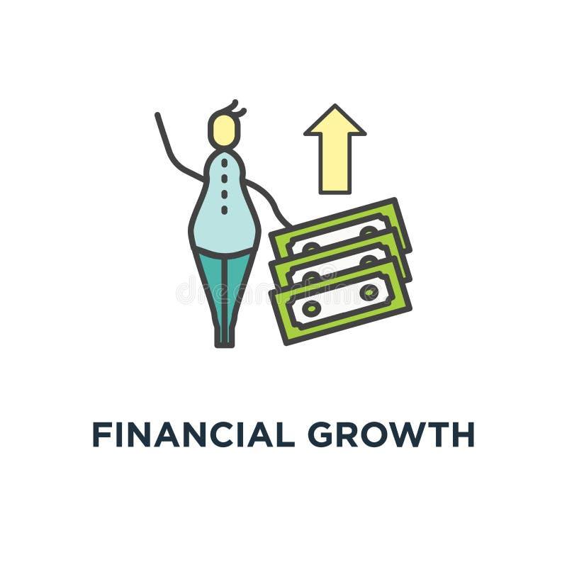 Finanzwachstums-Ikone Zinseszins, Geldrückkehr oder Haushaltsführung, netter Karikaturmann mit zwei mit zwei Stapeln Geld, lizenzfreie abbildung
