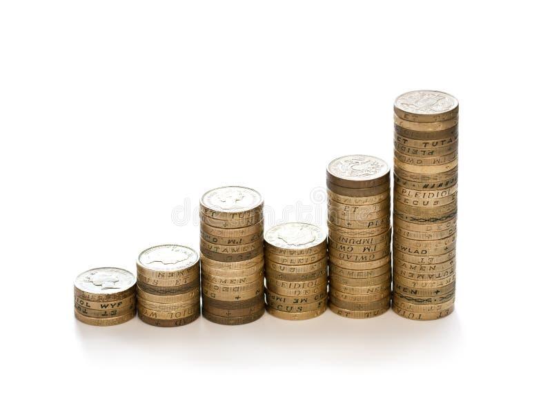 Finanzwachstumskonzept von den 1 Pfund Staplungsmünzen lokalisiert auf w stockfotografie