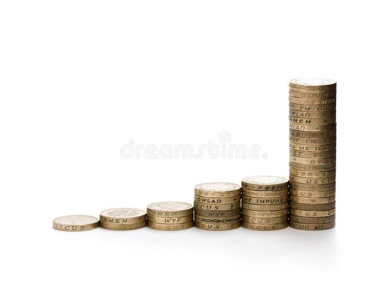 Finanzwachstumskonzept von den 1 Pfund Staplungsmünzen lokalisiert auf w lizenzfreie stockfotos