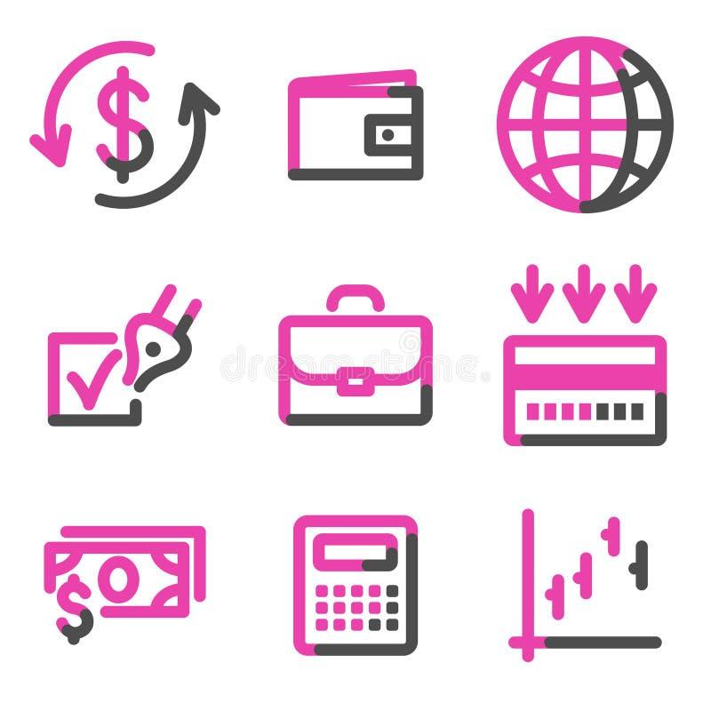 Finanzweb-Ikonen, rosafarbene Formserie lizenzfreie abbildung