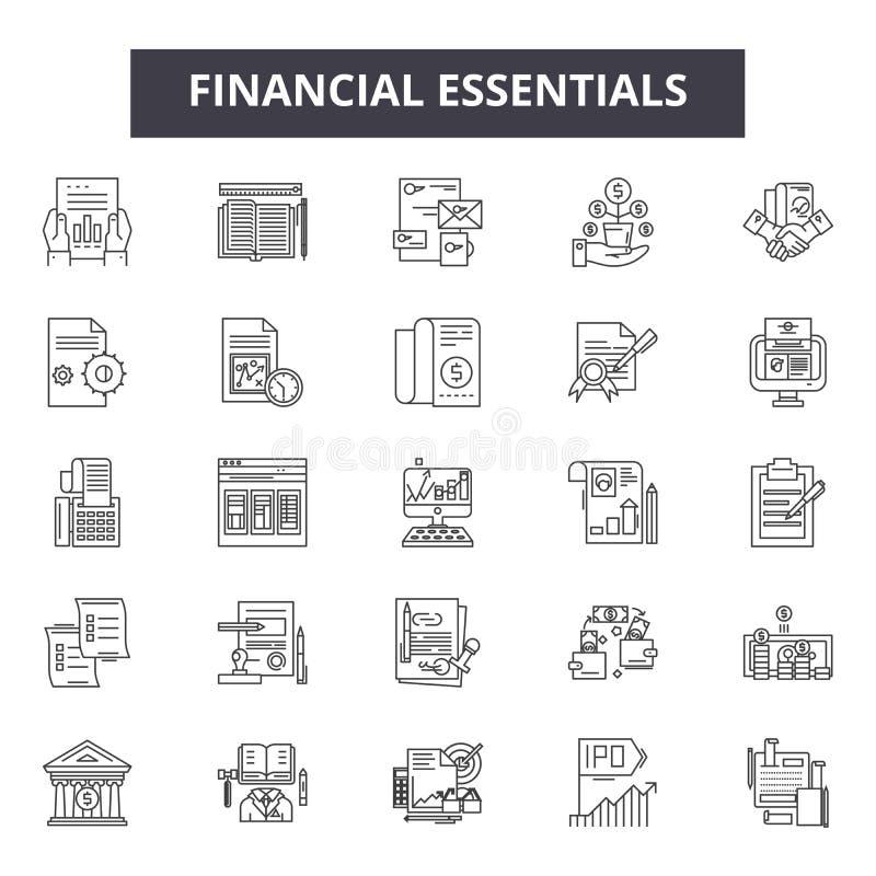 Finanzwesensmerkmale zeichnen Ikonen, Zeichen, Vektorsatz, Entwurfsillustrationskonzept stock abbildung