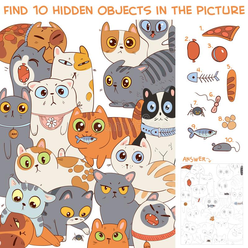 Free Find 10 Hidden Objects In The Picture. Group Of Different Cats Royalty Free Stock Images - 188906449