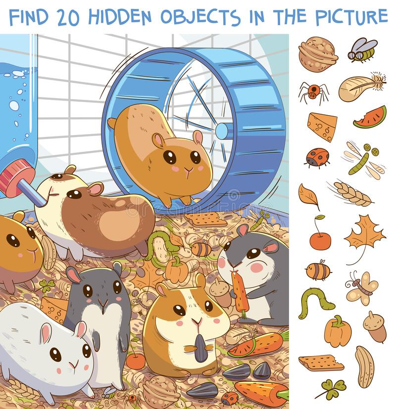Free Find 20 Hidden Objects In The Picture. Hamsters In A Cage Stock Photos - 188906433